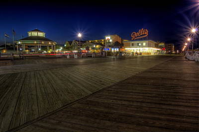 Rehoboth Beach Boardwalk At Night Poster