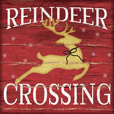 Reindeer Crossing Poster by Jennifer Pugh