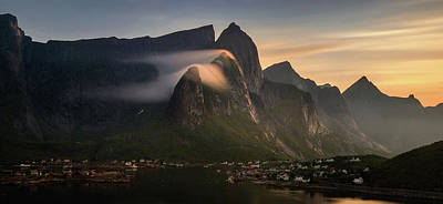 Reine Village With Mountains At Sunset Poster