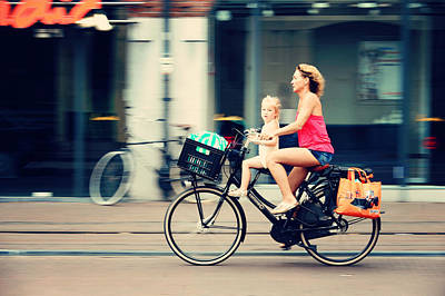 Rejecting The Automobile. Sporty Mum And Sporty Me. Amsterdam Poster
