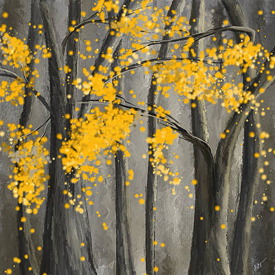 Rejuvenating Elements- Yellow And Gray Art Poster by Lourry Legarde