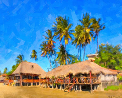 Relaxing Beneath Palm Trees On A Tropical Beach - Nicaragua Poster by Mark E Tisdale