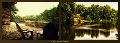 Relaxing By The River Nature Center Fullersburg Woods 2 Panel Poster by Thomas Woolworth