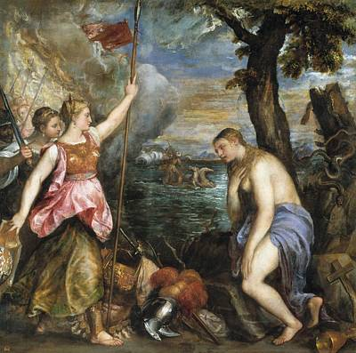 Religion Succoured By Spain Poster by Titian