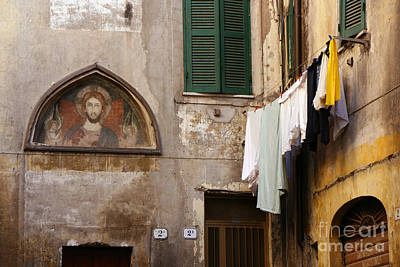 Religious Icon And Laundry Poster
