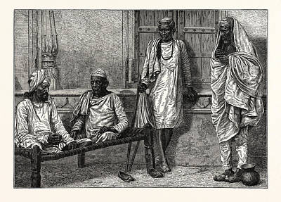 Religious Mendicants, Benares.  The Term Mendicant Refers Poster by English School