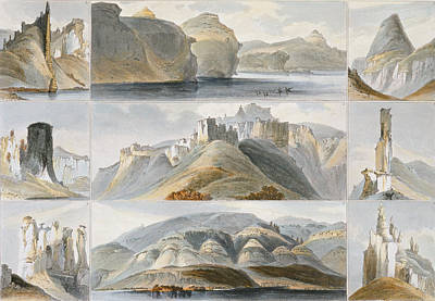 Remarkable Hills On The Upper Missouri Poster by Karl Bodmer