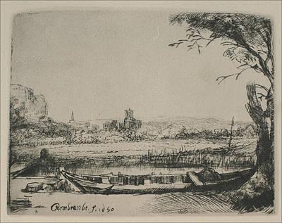 Rembrandt Sketch Of Cottage Landscape Poster