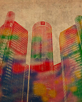 Renaissance Center Iconic Buildings Of Detroit Watercolor On Worn Canvas Series Number 2 Poster by Design Turnpike