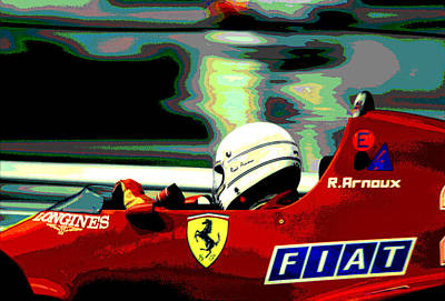 Rene Arnoux And Ferrari Poster by Mike Flynn