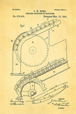 Reno Escalator Patent Art 1892 Poster by Ian Monk