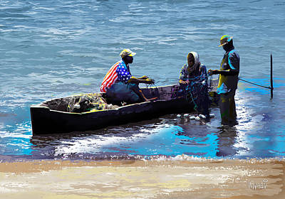 Poster featuring the painting Repairing The Net At Lake Victoria by Anthony Mwangi