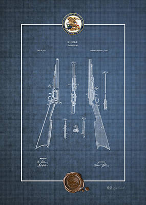 Repeating Rifle Lubrication Method By S. Colt - Vintage Patent Blueprint Poster by Serge Averbukh