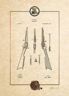 Repeating Rifle Lubrication Method By S. Colt - Vintage Patent Document Poster by Serge Averbukh