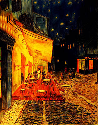 Replica Of Van Gogh's Cafe At Night Poster by Jose A Gonzalez Jr