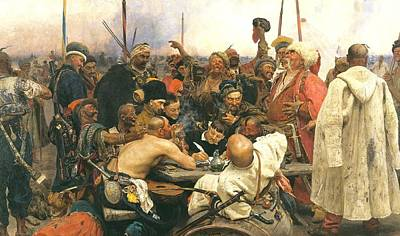 Reply Of The Zaporozhian Cossacks To Sultan Mehmed Iv Poster by Celestial Images