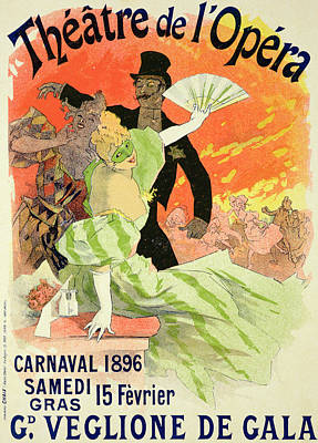 Reproduction Of A Poster Advertising The 1896 Carnival At The Theatre De L'opera Poster by Jules Cheret