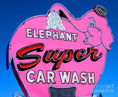 Elephant Super Car Wash Sign Seattle Washington Poster