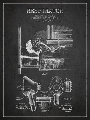 Respirator Patent From 1911 - Charcoal Poster by Aged Pixel