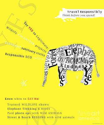 Responsible Tourism Elephant Typography Poster Poster by Nola Lee Kelsey