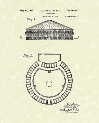 Restaurant 1937 Patent Art Poster