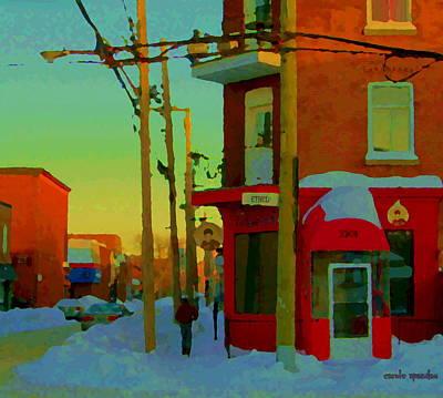 Restaurant Chez Lulu B Cafe Rue Ethel Streets Of Verdun Montreal Winter Scenes Carole Spandau Poster by Carole Spandau