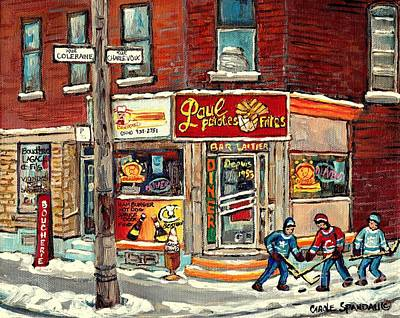 Restaurant Paul Patate Pte St Charles Montreal Verdun Paintings Hockey Art City Scenes Cspandau Poster by Carole Spandau