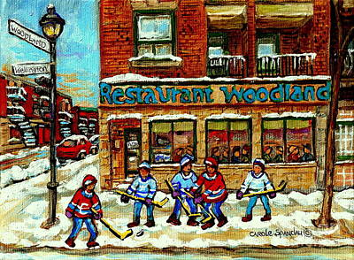 Restaurant Woodland Pizza Rue Wellington Verdun Original Hockey Art Montreal Paintings Commissions   Poster by Carole Spandau