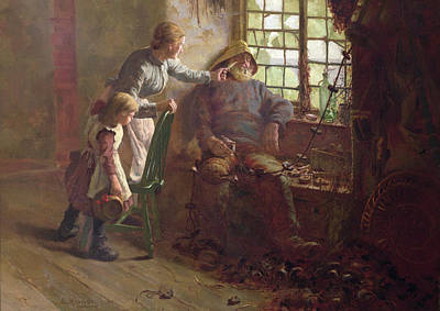 Resting Oil On Canvas Poster by Edwin Harris