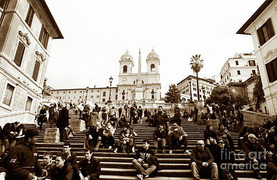 Resting On The Spanish Steps Poster by John Rizzuto
