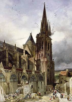 Restoring The Abbey Church Of St. Denis In 1833 Oil On Canvas Poster