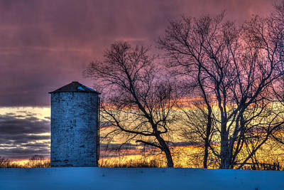 Retired Silo Watching Sunset Poster by Paul Freidlund