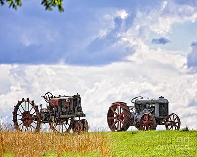 Retired Tractors Poster by Timothy Flanigan
