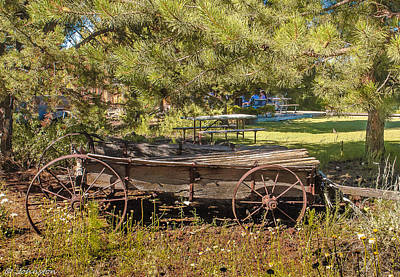 Retired Wagon At Thousand Trails Poster by Bob and Nadine Johnston