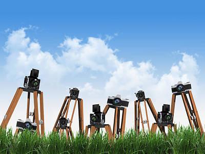 Retro Camera With Grass Poster
