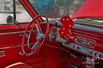 Poster featuring the photograph Retro Chevy Car Interior Art Prints by Valerie Garner