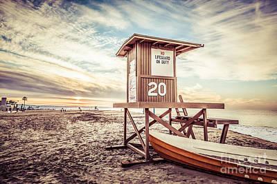Retro Newport Beach Lifeguard Tower 20 Picture Poster