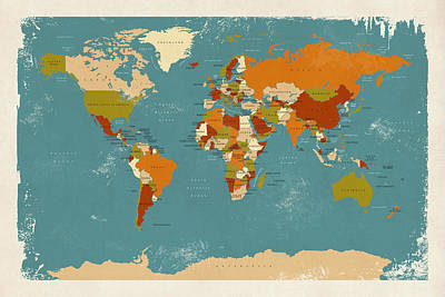 Retro Political Map Of The World Poster by Michael Tompsett