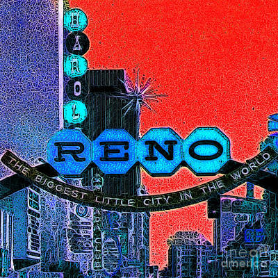 Retro Reno Nevada The Biggest Little City In The World 20130505v2 Poster by Wingsdomain Art and Photography