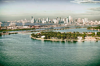 Poster featuring the photograph Retro Style Miami Skyline And Biscayne Bay by Gary Dean Mercer Clark