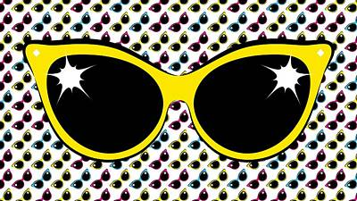 Retro Yellow Cat Sunglasses Poster by MM Anderson