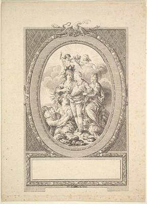 Reverse Copy Of Allegory Of Louis Xvi Poster by After Augustin de Saint-Aubin