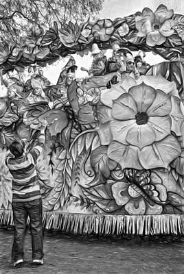 Rex Mardi Gras Parade - Paint Bw Poster by Steve Harrington
