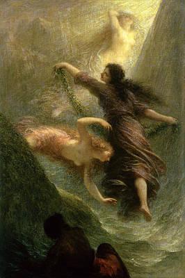 Rheingold, First Scene, 1888 Oil On Canvas Poster by Ignace Henri Jean Fantin-Latour