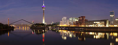 Rheinturm Tower And Gehry Buildings Poster by Panoramic Images