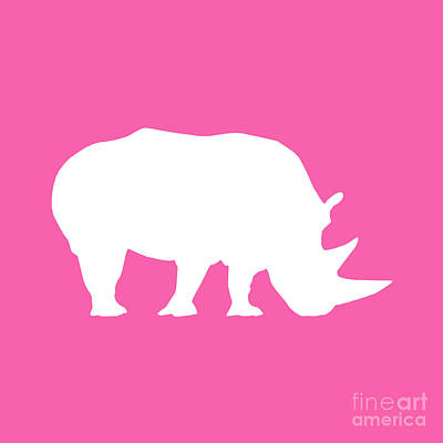 Rhino In Pink And White Poster