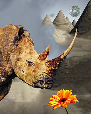 Rhino With Moon Poster