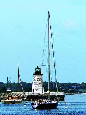 Rhode Island - Boats Near Lighthouse Bristol Ri Poster by Susan Savad