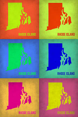 Rhode Island Pop Art Map 1 Poster by Naxart Studio