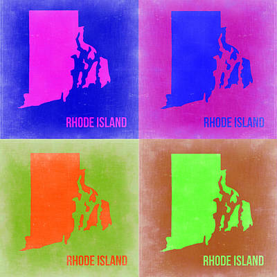 Rhode Island Pop Art Map 2 Poster by Naxart Studio